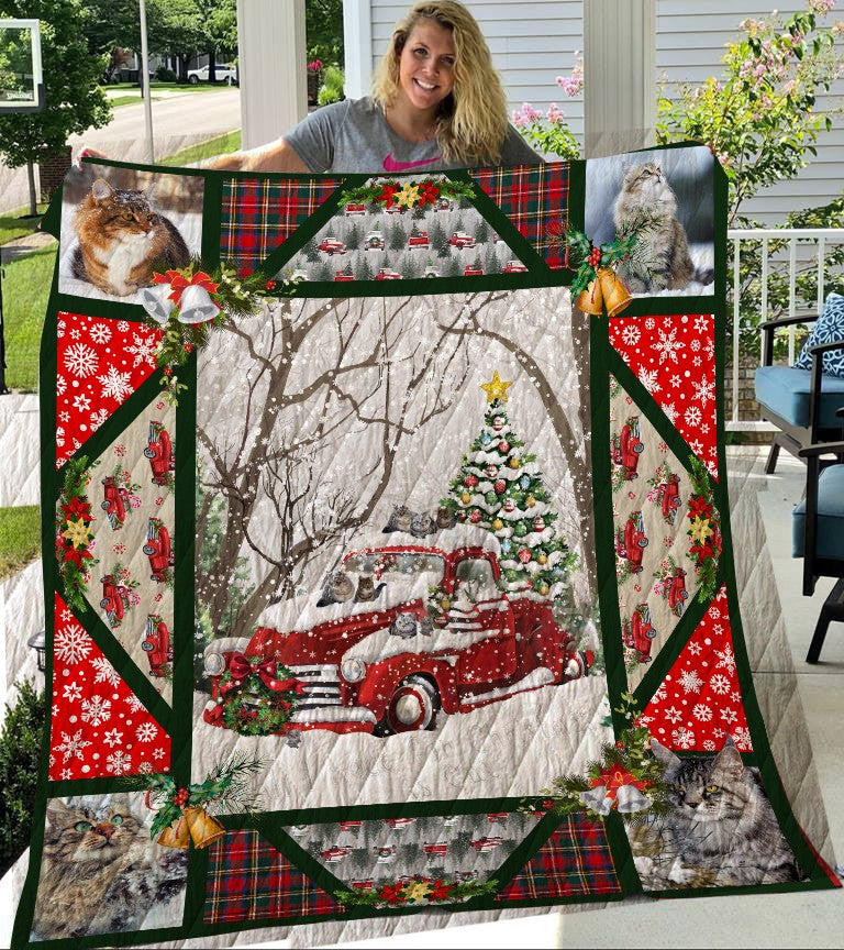 Cat Red Truck Quilt