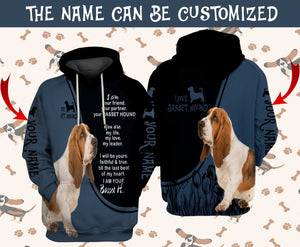 Personalized Customized Basset Hound Dog Friend 3D Layout Hoodie