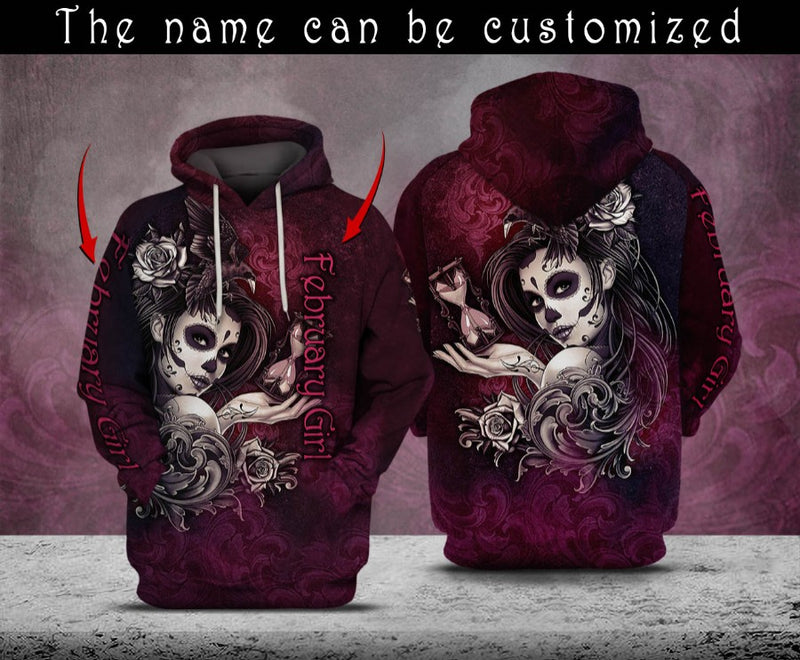 Personalized Customized Sugar Skull February Girl 3D Hoodie