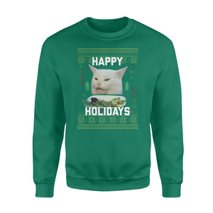 Funny Cat Women Yelling At Confused Cat Meme Sweater