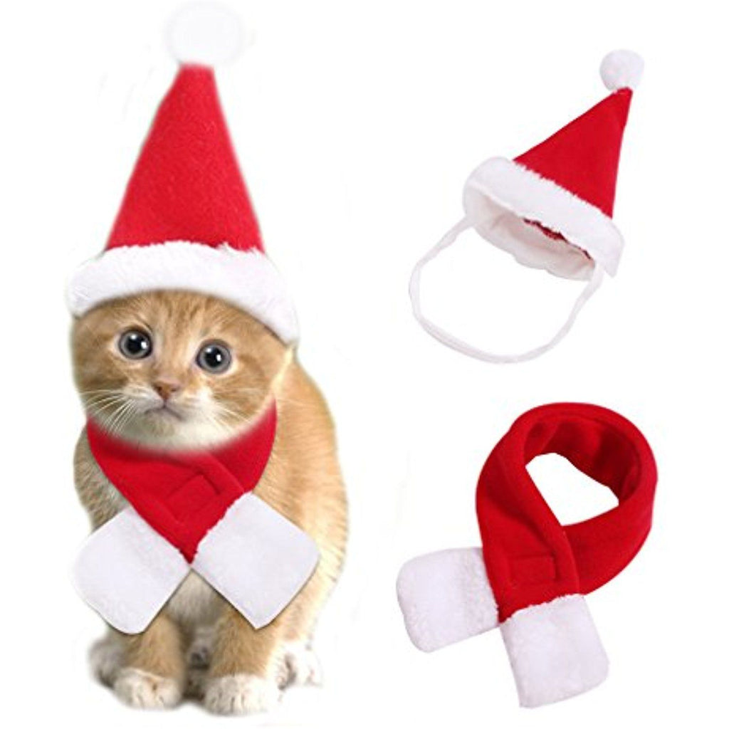 Santa Cat Scarf and Hat Set - Kawaii Kitty, The cutest Cat themed Gifts for cat lovers