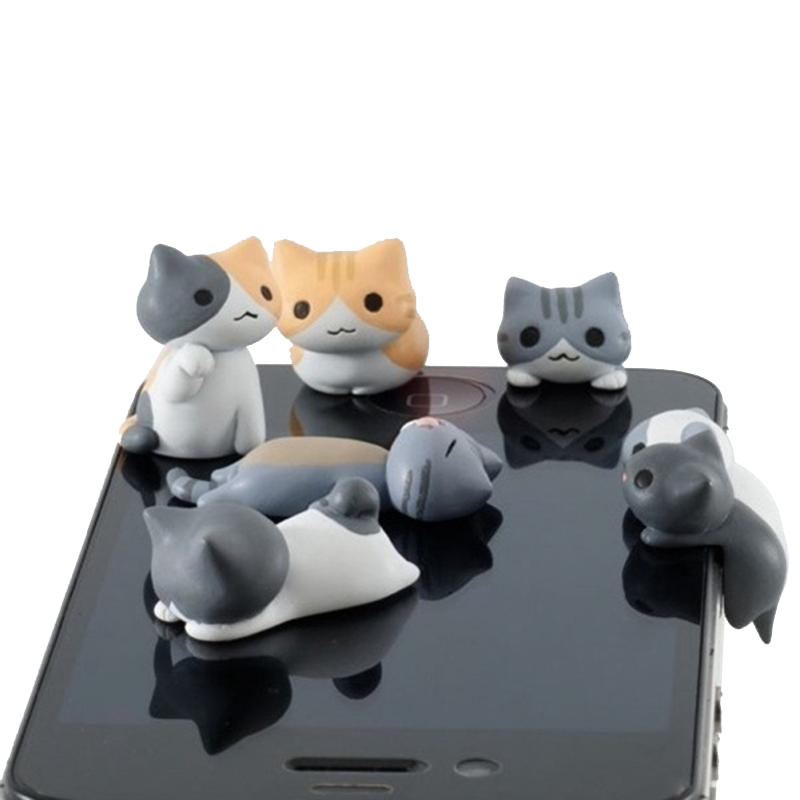 Cat miniature 6x Pack with Phone jack - Kawaii Kitty, The cutest Cat themed Gifts for cat lovers