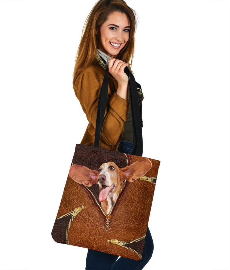 Love Basset Hound Dog 3D Printed Leather Fake Tote Bag