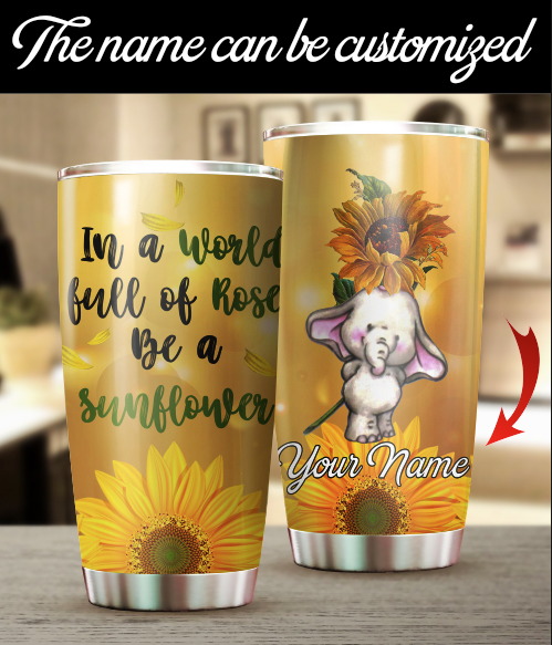 Personalized Customized Elephant Sunflower Tumbler