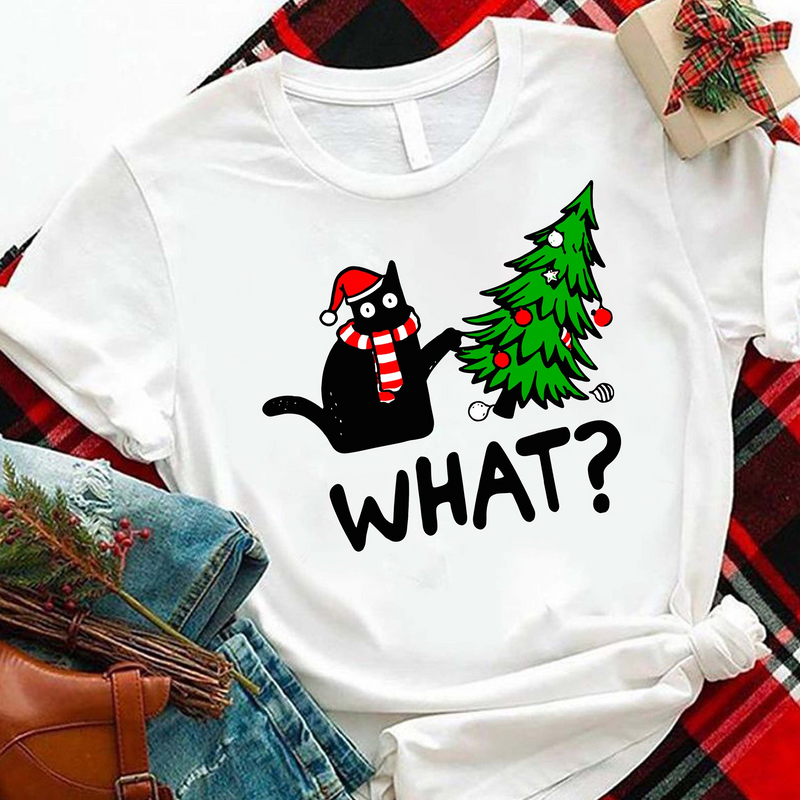 Christmas Tree Black Cat - What Shirt
