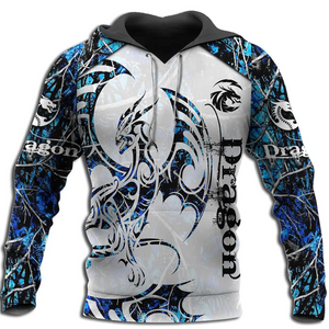 3D Armor Black & Blue Tattoo and D&D Dragon Hoodie For Men and Women