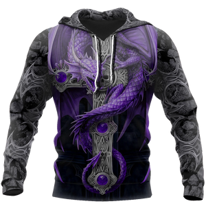3D Purple Tattoo and Dungeon Dragon Hoodie For Men and Women
