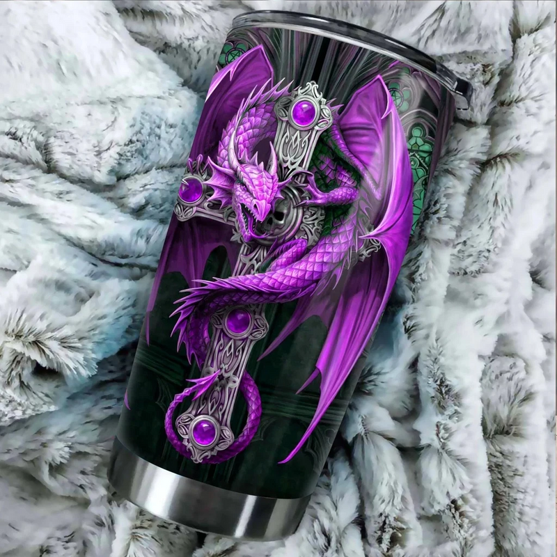 Dragon & Dungeon Purple Tattoo Christian Cross Tumbler