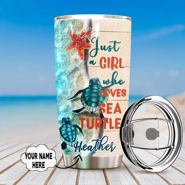 Personalized Customized Just A Girl Who Loves Sea Turtle Tumbler