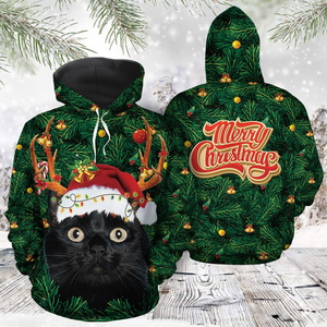 Funny Black Cat Christmas Tree Merry Christmas 3D Hoodie
