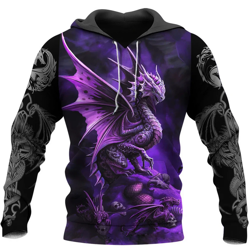 3D Tattoo and Dungeon Dragon Purple Art Hoodie For Men and Women