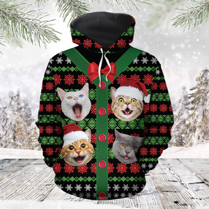 Funny Cat Christmas Gift Box Cute 3D Hoodie