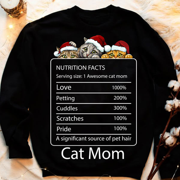 Cat Mom Nutrition Facts Sweater