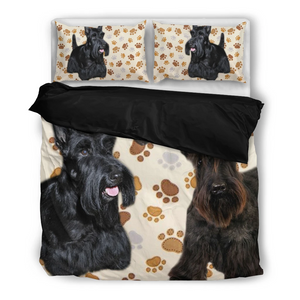 Dog Scottish Terrier Paw Print Bedding Set