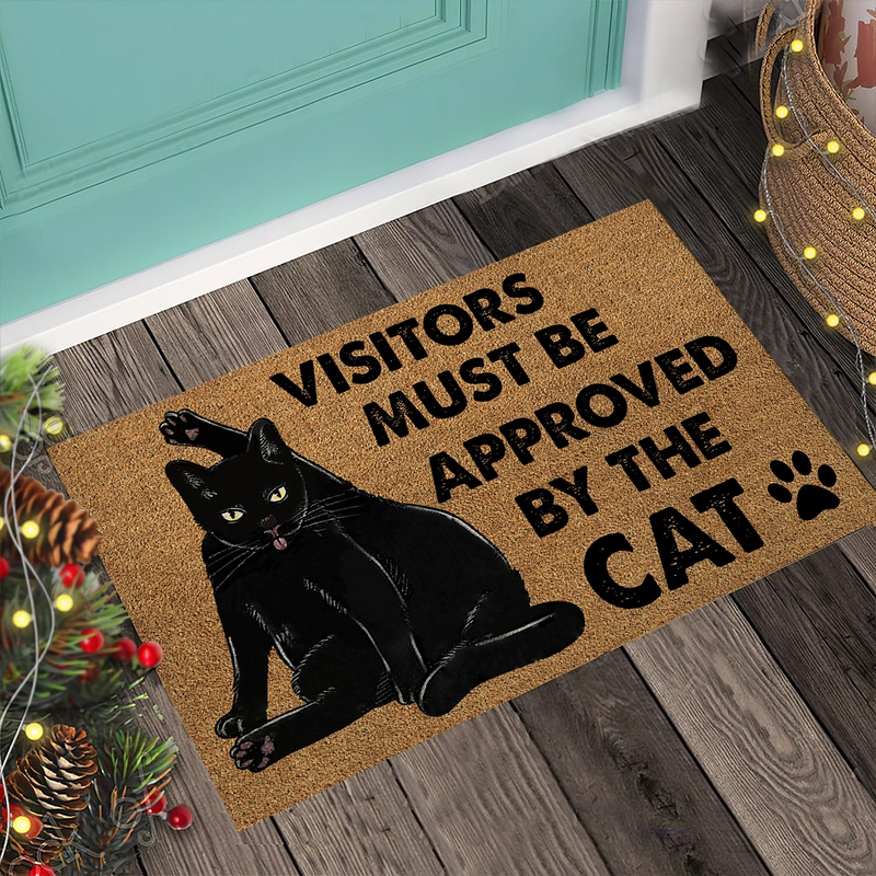 Visitors Must Be Approved – Black Cat Coir Pattern Print Doormat