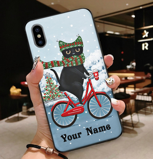 Personalized Cycling Delivery Black Cat Customized Winter Christmas Gift Phone Case
