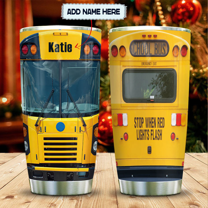 Personalized Customized School Bus Head 3D Full Printed Tumbler