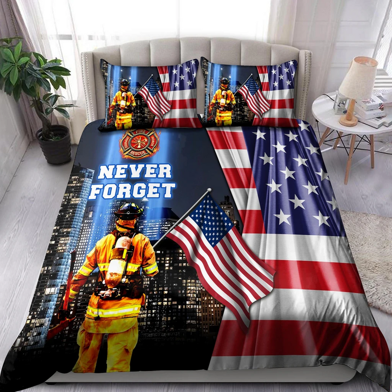 Firefighter Never Forget Always Remember Bedding Set