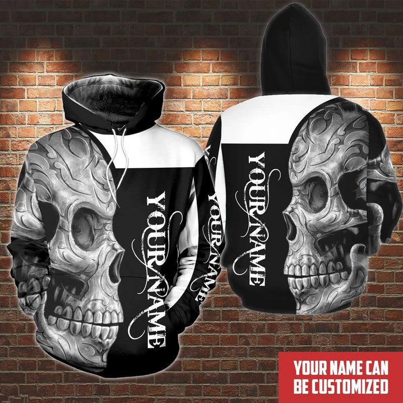 Personalized Customized Black And White Skull Hoodie For Skull Lover 3D Printed Hoodie