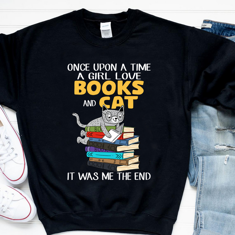 Once Upon A Time Girl Love Books & Cat Was Me Shirt