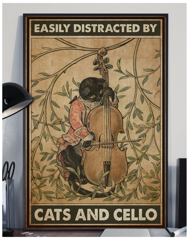 Cat & Cello Easily Distracted By Vintage Poster