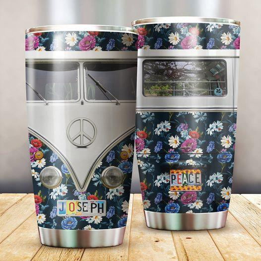Customized Hippie Peace Flower Tumbler
