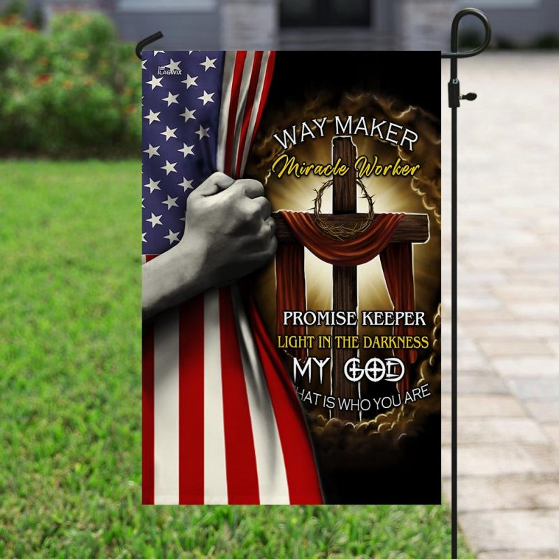 US Jesus Cross – Way Maker Miracle Worker Flag
