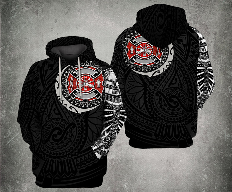 Firefighter Tattoo 3D Hoodie For Men And Women