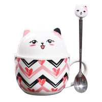 Pink Cat Ceramic Mug and Cereal Bowl - Kawaii Kitty, The cutest Cat themed Gifts for cat lovers
