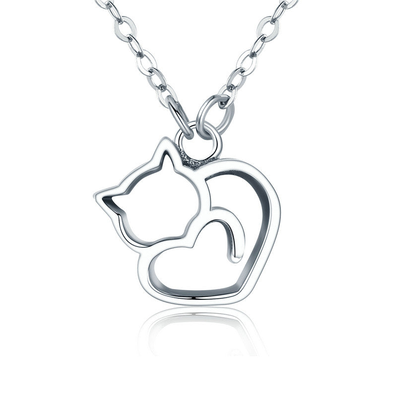Cat Love Silver Necklace - Kawaii Kitty, The cutest Cat themed Gifts for cat lovers
