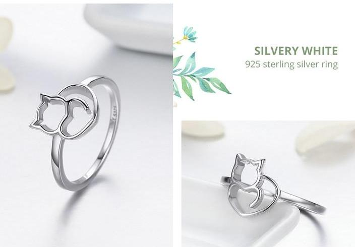 Cat Love Silver Ring - Kawaii Kitty, The cutest Cat themed Gifts for cat lovers