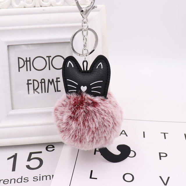 Cat Fluffy Pompom Keychain - Kawaii Kitty, The cutest Cat themed Gifts for cat lovers