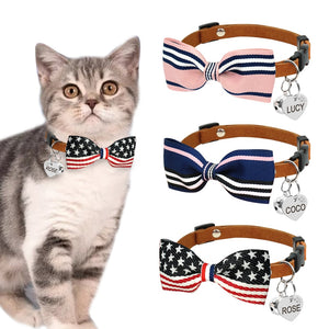Personalized Bow Tie Cat Collars - Kawaii Kitty, The cutest Cat themed Gifts for cat lovers