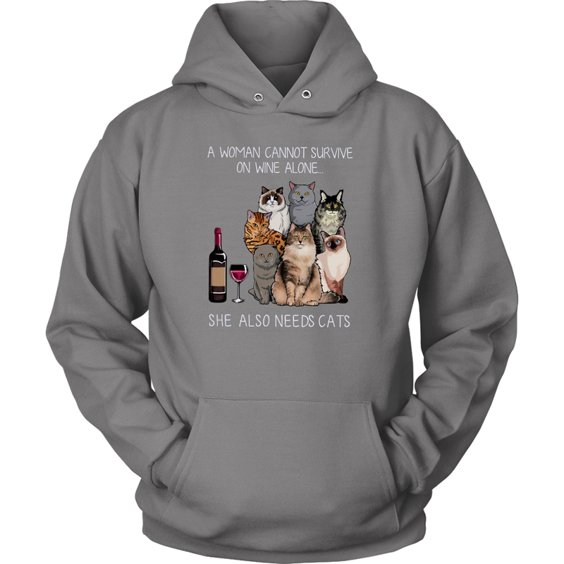 Cat A Woman Cannot Survive On Wine Alone T Shirt Apparel