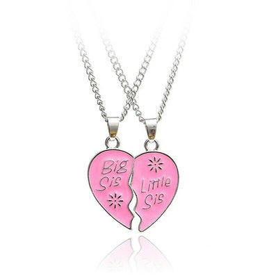 Double Pink Sister Necklaces