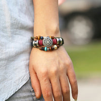 Leather Wooden Bead Charm Bracelet