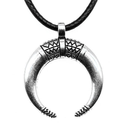 Crescent Horn Leather Necklace