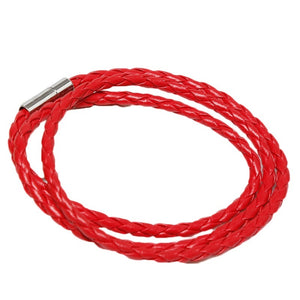Red Braided Leather Bracelet / Necklace