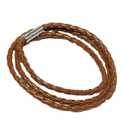 Tan Braided Leather Bracelet / Necklace