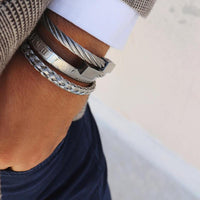 Triple Silver Plated Stainless Steel Bracelet Set