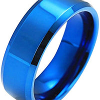 Stainless Steel Gloss Blue Ring