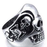 Skeleton Skull Steel Ring UK