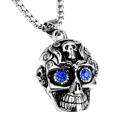 Silver Gem Skull Necklace