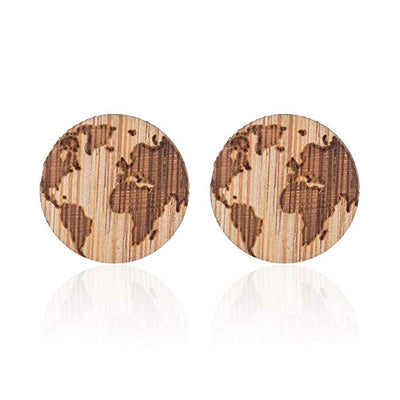 Wooden World Map Earrings