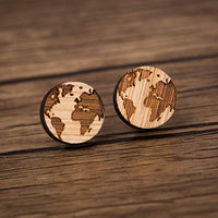 Best Wooden World Map Earrings