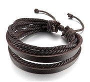 Multilayer Brown Leather Rope Bracelet