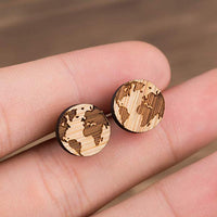 Wooden World Map Earrings Online