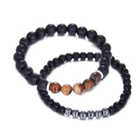 Double Black Chakra Buddha Bracelet UK