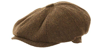 8 Panel Brown News Boy Cap