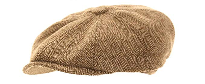 8 Panel Beige News Boy Cap